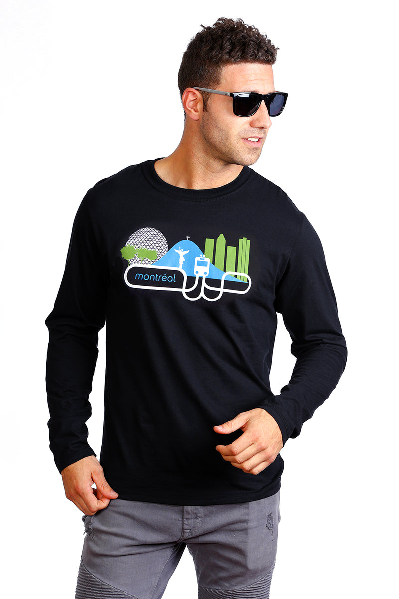 Our Long sleeve Montreal black T-shirt made in Canada with Organic Cotton