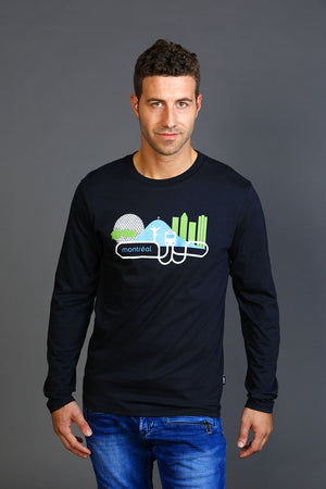 MTL Long sleeve Montreal black T-shirt made in Canada with Organic Cotton