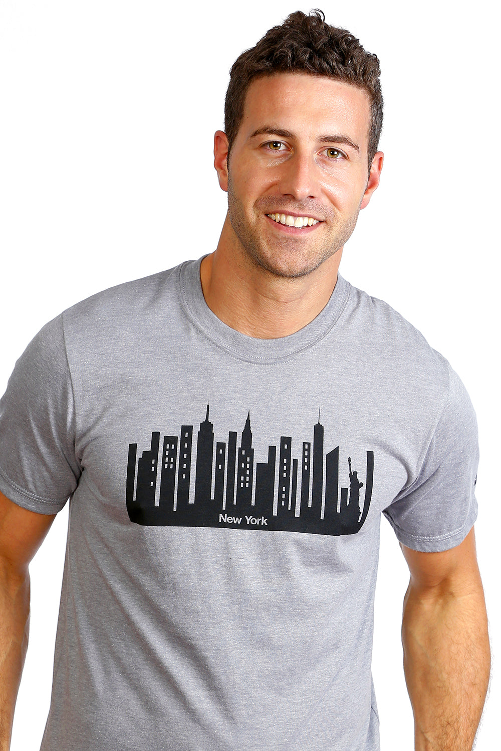 T- shirt for Mens with New York City design shirt Organic cotton gray