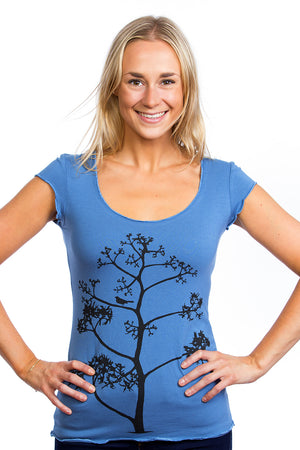Sustainable Teeshirts for Yoga Bird Tree Bamboo
