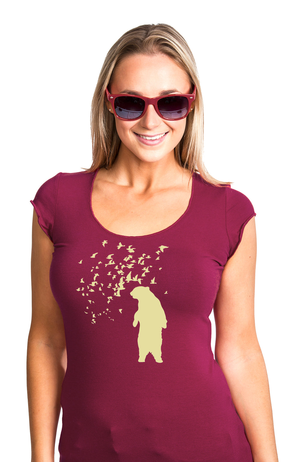 Bear T-shirt Woman Women Burgundy PLB Design Ours