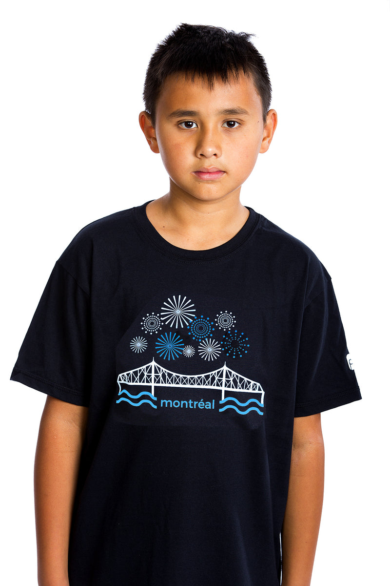 Jacques-Cartier Bridge T-shirt | Fireworks | Montreal | Organic | Awesome Kids Enfants Nino Pont Puente