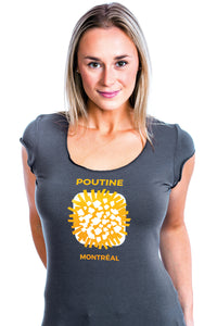 Women Poutine T-shirt Femme Quebec Canada Dish Typical Bamboo Bambou MTL