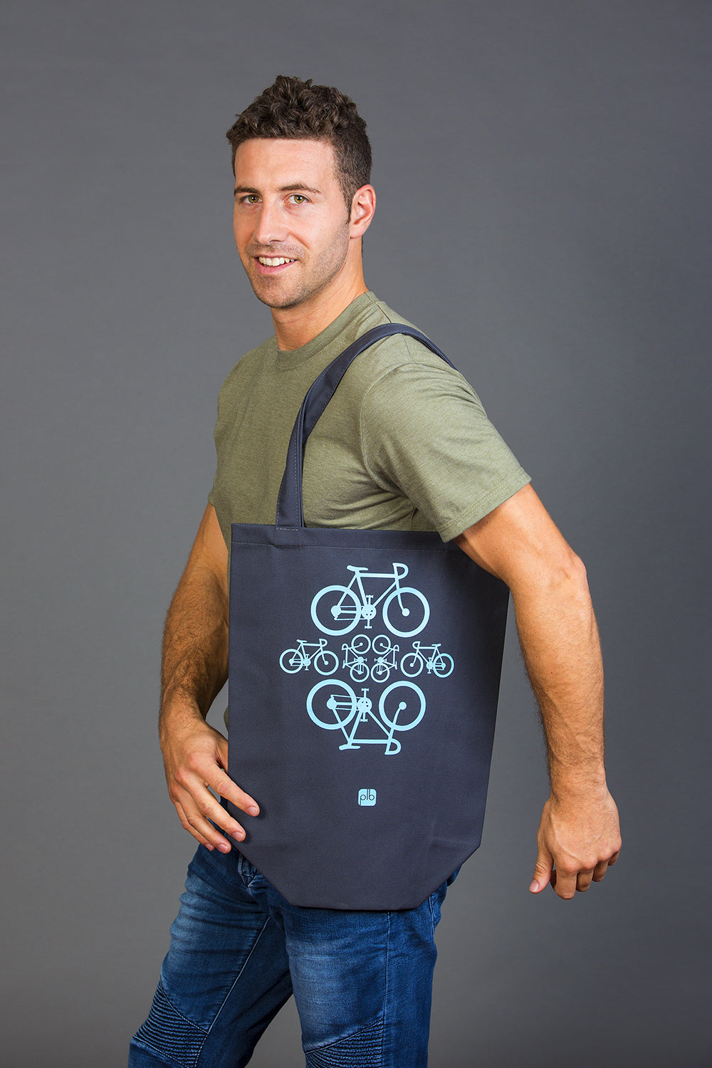 100 Cotton gray bicycles tote bag