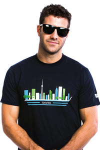 Mens Toronto City T-shirt Skyline Landmark Buildings Tee Cool Black Organic