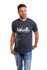 Mens Toronto City T-shirt Skyline Landmark Buildings Tee Cool Gray