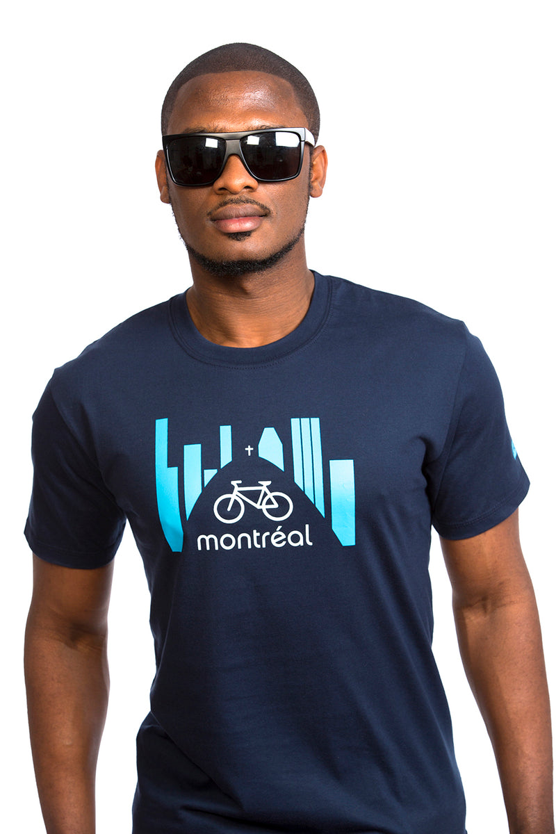 Montreal Bike T-shirt Bicycle Organic PLB Design Navy Blue Marin Bleu Velo Skyline Bici bicicleta MTL YUL