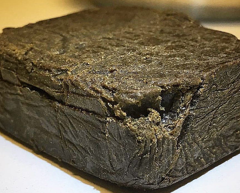 A brick of heated and pressed kief known as hash or hashish, image from Weeds Finder on Instagram