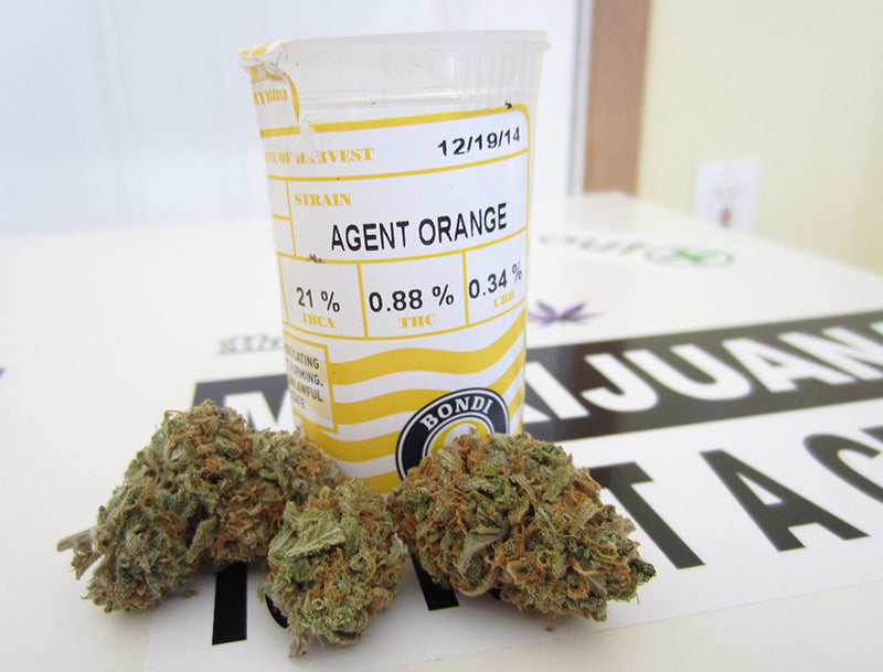 Agent Orange Cannabis nugs and a dispensary bottle, image from Mrs Nice guy.com