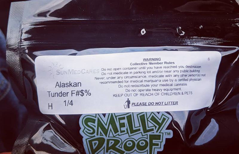 Alaskan Thunder Fuck cannabis in a dispensary bag, image from I Just Lost on Instagram