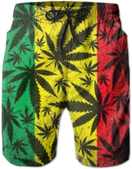 Bob Marley Striped Marijuana Leaf Board Shorts