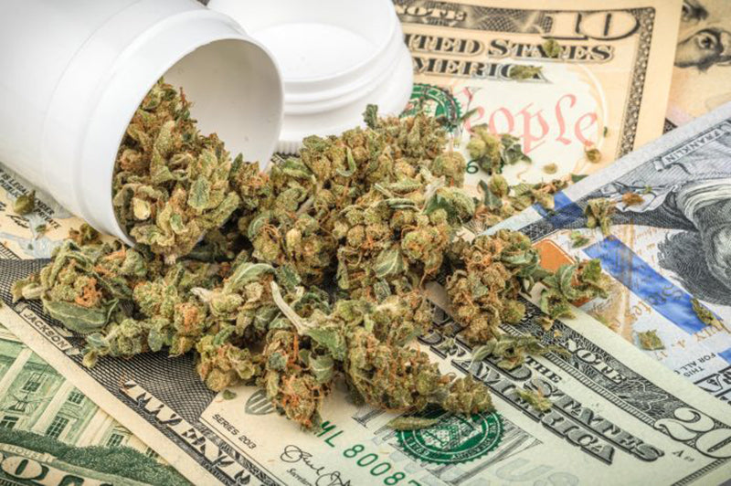 Candyland marijuana flower spilling onto money from a dispensary bottle, from MedicalSecrets.com