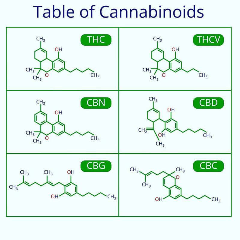 Table of cannabinoids Including THCV, image from Meme Weed Man on Instagram