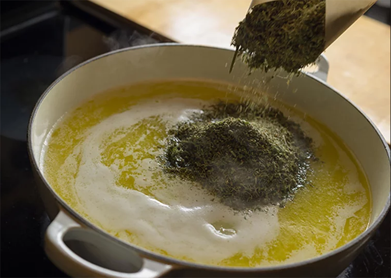 Making cannabutter from My Recipes.com