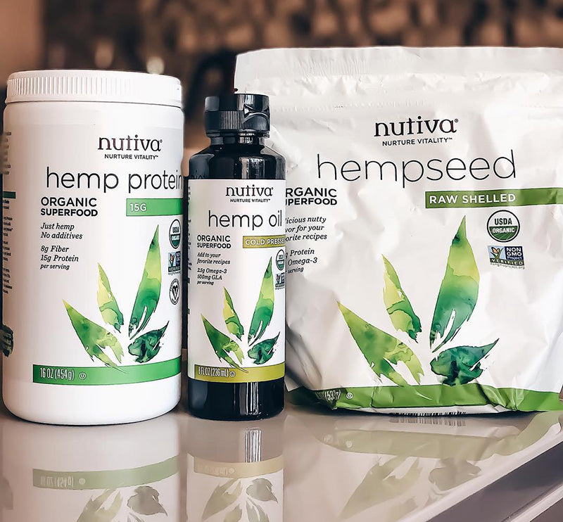 Nutiva hemp products and raw shelled hemp seeds, image from Healthy Room UA on Instagram