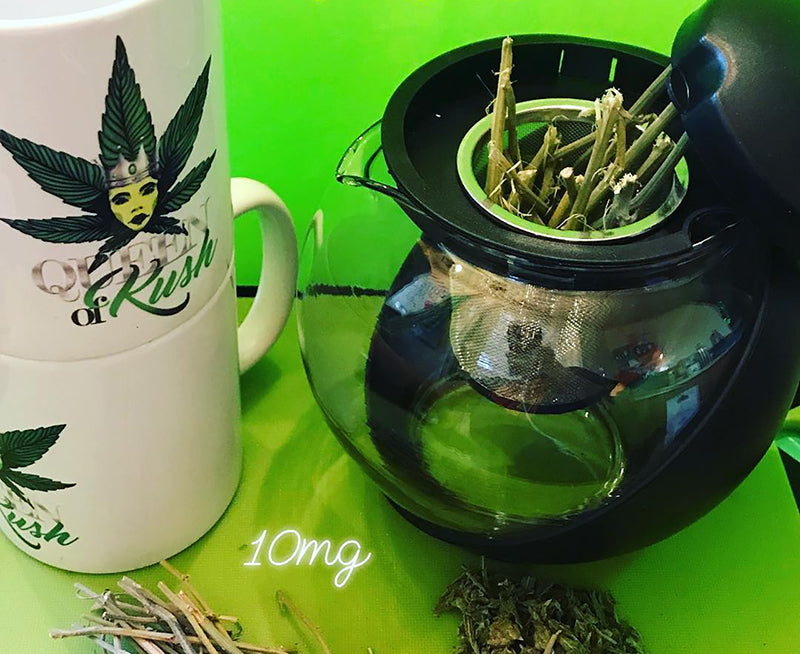 Weed stems and a pot to make pot tea, image from Ricch Hippee on Instagram