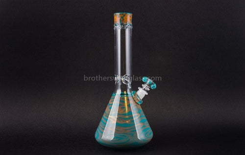 HVY Glass Fumed Worked Coil Beaker Water Pipe - Teal and Copper