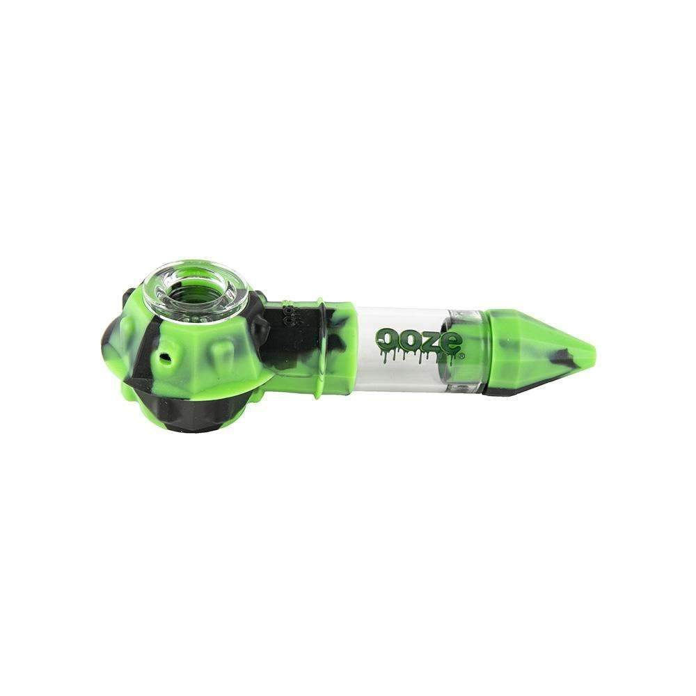 pipes Ooze Bowser Silicone Glass Pipe - Black / Green