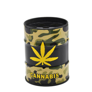 Ashtray Cannabias Leaf Oil Drum Shaped Tin Ashtray