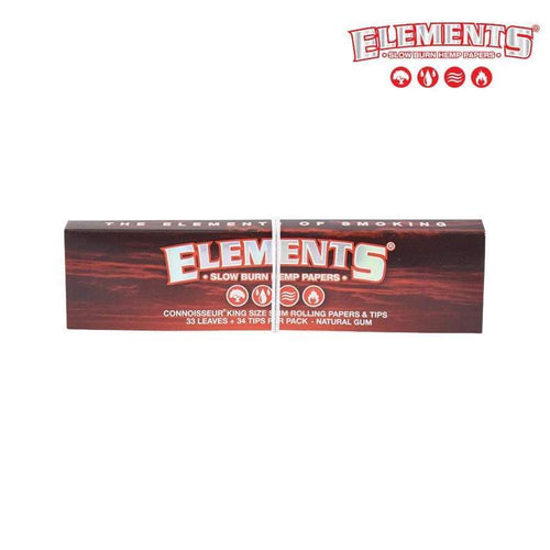 Rolling Papers ELEMENTS Red Connoisserur King Size Slim, Slow Burning Rolling Papers + Tips