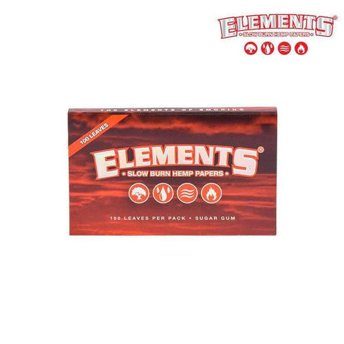 Rolling Papers ELEMENTS Red Single Wide, Slow Burning Hemp Papers