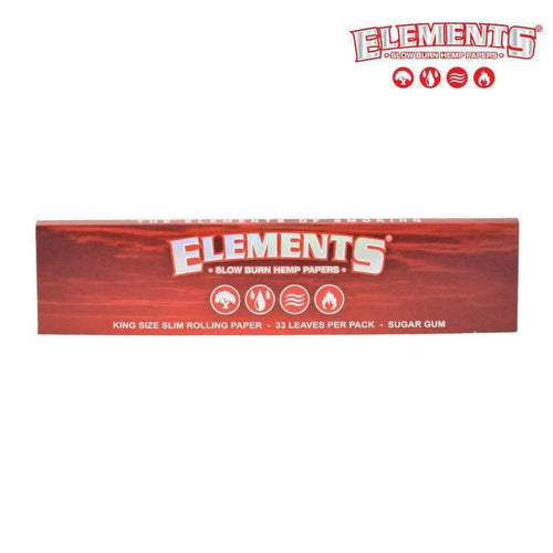 Rolling Papers ELEMENTS Red King Size Slim, Slow Burning Hemp Rolling Papers