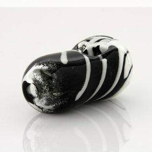 Hand Pipe Glassheads - Black and white frit egg with daisy flower head