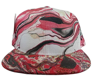 Marbled Adjustable Hat | Red and White