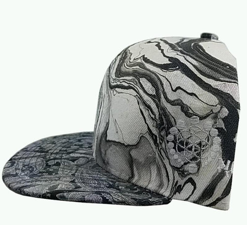 Marbled Adjustable Hat | Black and White