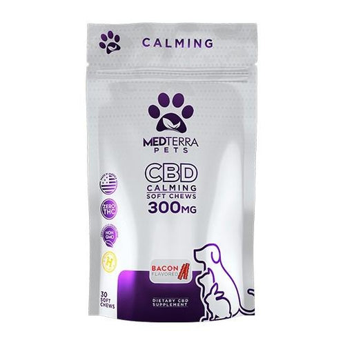CBD for pets CBD Calming Chews for Pets 300 mg Bacon Flavor