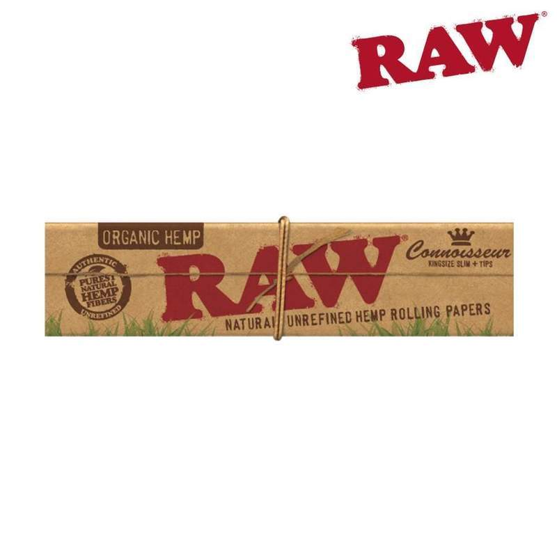 RAW Organic Hemp Connoisseur King Size Slim, Natural Rolling Papers, Tips Included