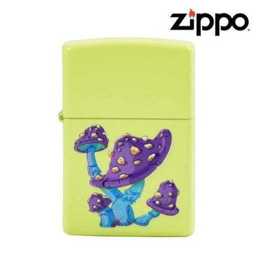 Zippo Lighter u2013 Neon Yellow with Textured Mushrooms