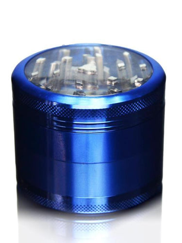 grinders Blue Clear Top Grinder - 4 Piece