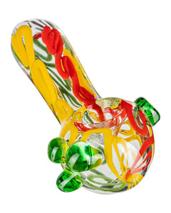 Hand Pipe Thick Latty Rasta Spoon w/ Marble Accents