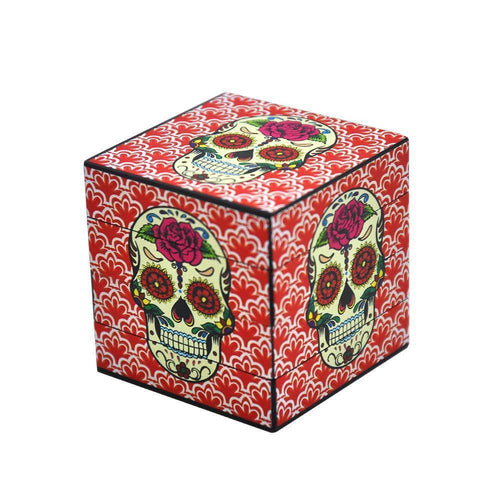 Bong Attachments Day of The Dead Sugar Skull Box Novelty Herb Grinder 4 Piece 50mm