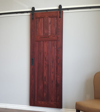 "Ash ""T"" style barn door in black cherry finish, with bent strap soft close barn door hardware"