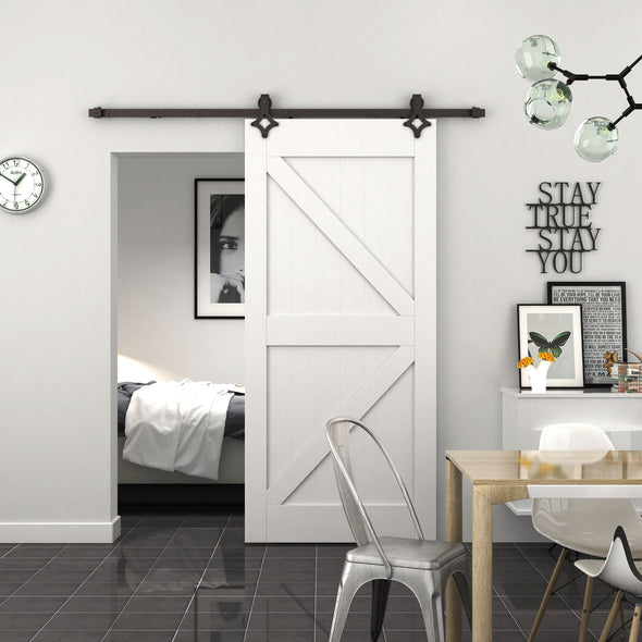 "Ace soft close barn door hardware on a white ""K"" door - custom sizing available"