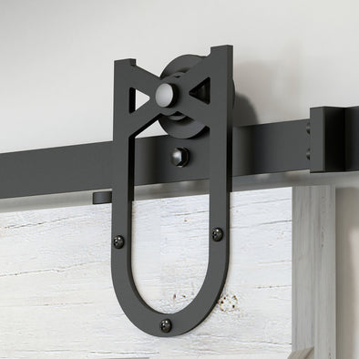 Single Wheel Horseshoe soft close barn door hardware in black steel comes in lengths starting at 60""