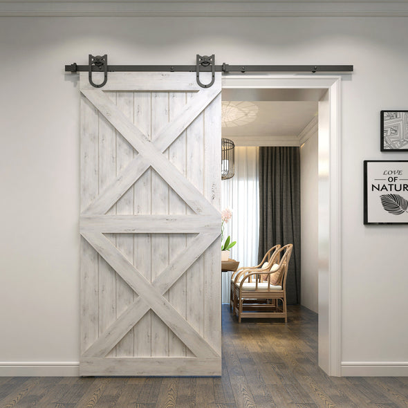 You'll have smooth rolling with Single Wheel Horseshoe soft close barn door hardware on a white double X.