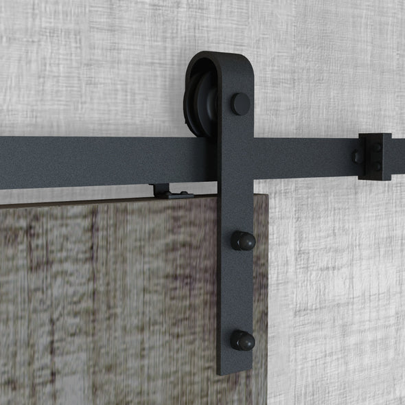 Bent strap soft close bar door hardware in black steel with many rail lengths