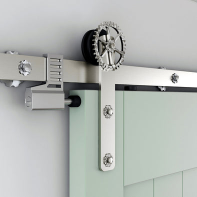 The Gears soft close barn door hardware in stainless steel will roll an old idea into modern styling