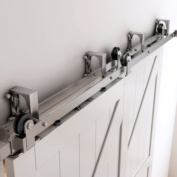 Stainless Bypass barn door hardware kit with soft close