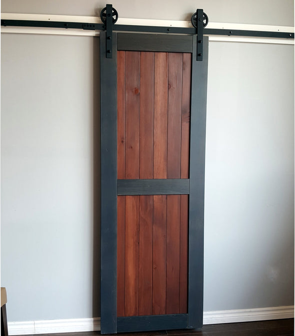 The classic divided door can fit with any style of decor, not just rustic barn. Here it gets fresh look in grey and black cherry.