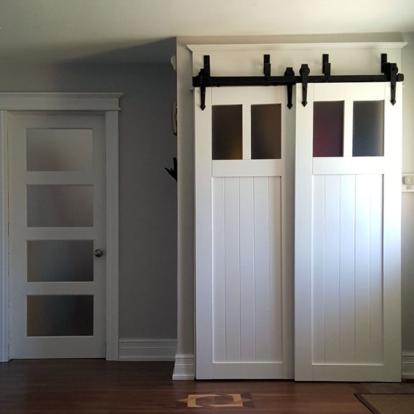 Bypassing white Craftsman style doors for a front hall closet