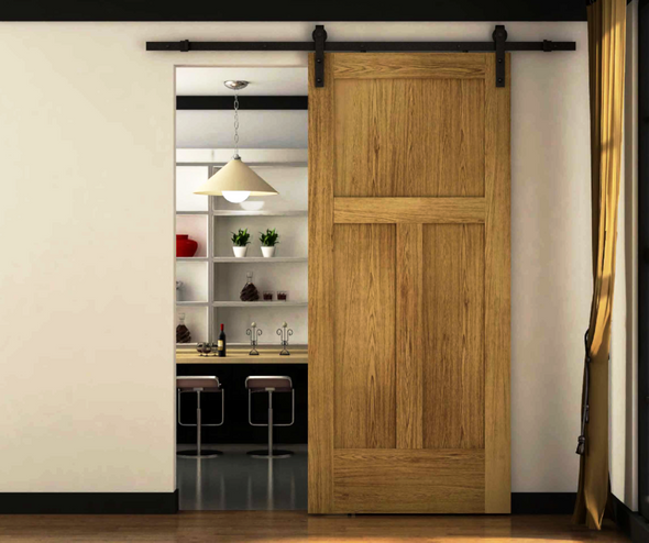 A traditional look with bent strap soft close barn door hardware