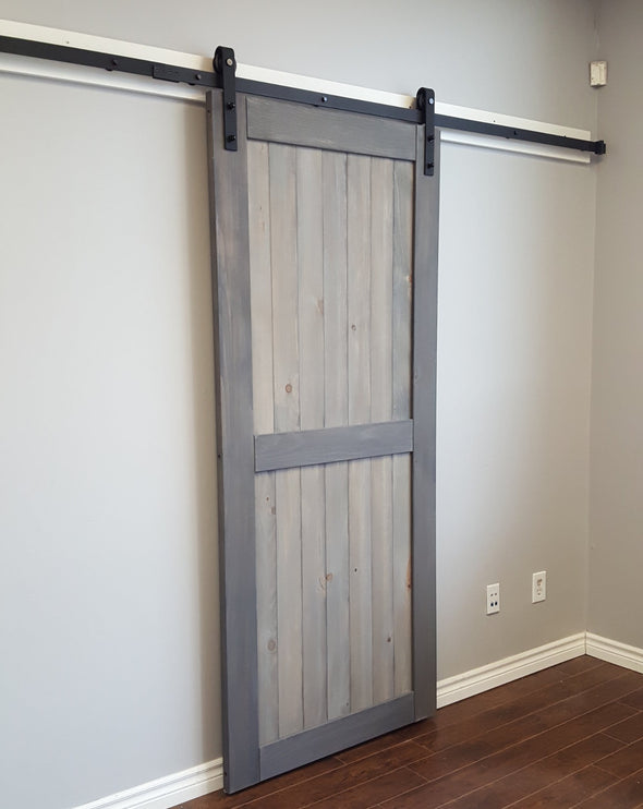 Weathered Grey Divided barn door with classic Bent Strap soft close barn door hardware