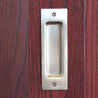 Recessed Barn Door Pull in Stainless Steel