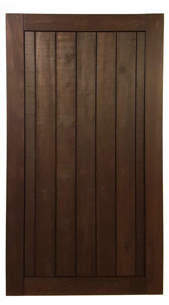 Refined Rustic door with vertical panels, shown here in espresso finish