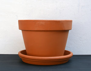 23cm Italian Terracotta Pot and Tray Combo