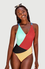 Load image into Gallery viewer, Color Block Open Back One Piece Swimsuit